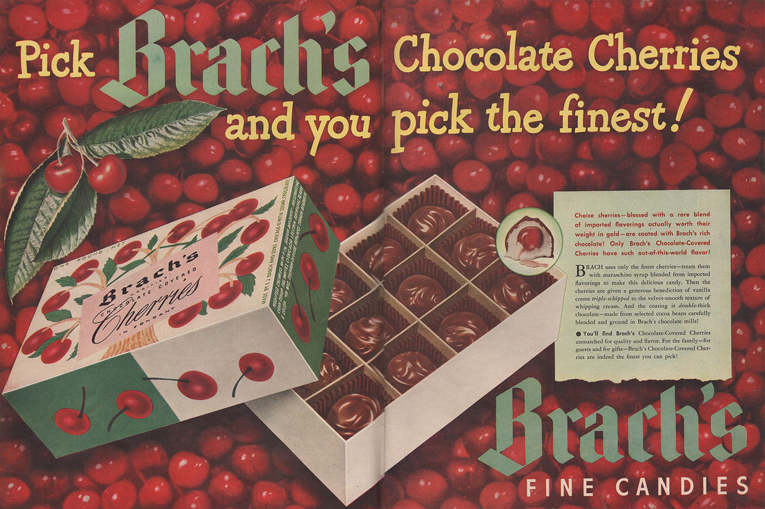 Advertisement for Brach's Chocolate covered cherries