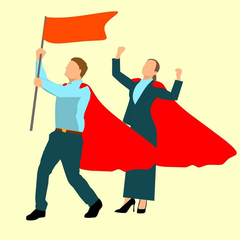 Illustration of two workers wearing superhero capes and holding flag