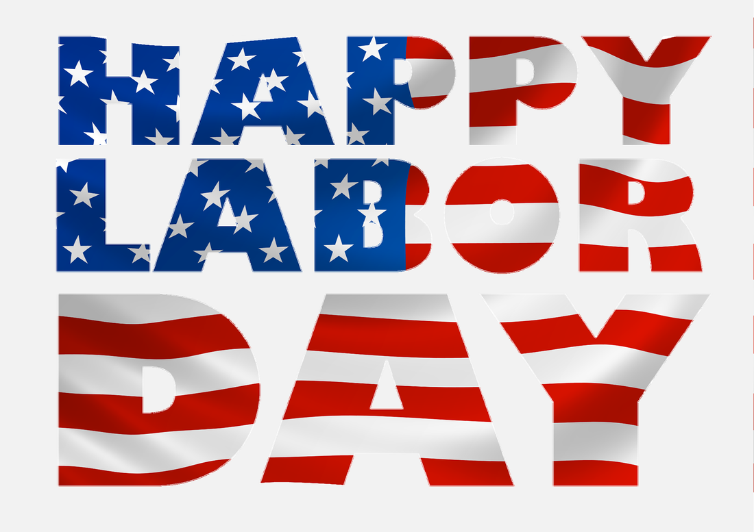 Words Happy Labor Day in USA flag images