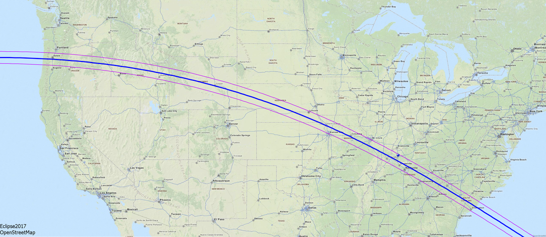 Map of the US with path of solar eclipse imposed