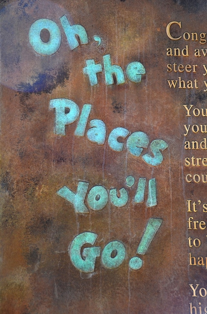 Oh, the places you'll go on bronze plaque