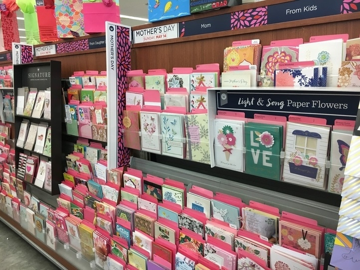 Store racks of Mother's Day cards