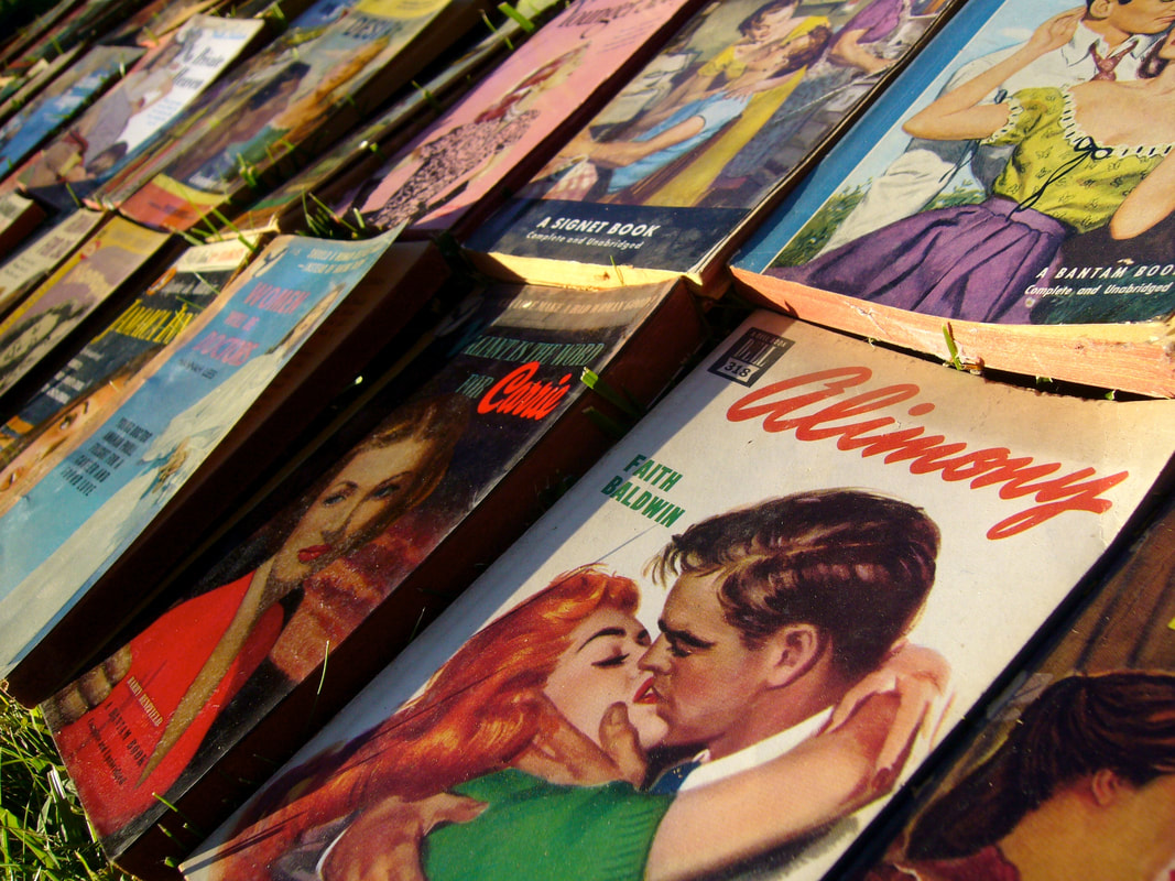 Covers of vintage romance novels