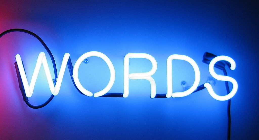 Words in Neon sign